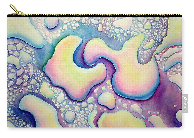 Water Carry-all Pouch featuring the painting Waterdrop Dance by Nancy Mueller