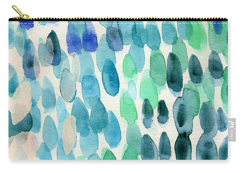 Water Carry-all Pouch featuring the painting Waterfall 2- Abstract Art by Linda Woods by Linda Woods