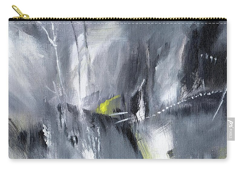 Nature Carry-all Pouch featuring the painting Waterfall Abstract by Anil Nene