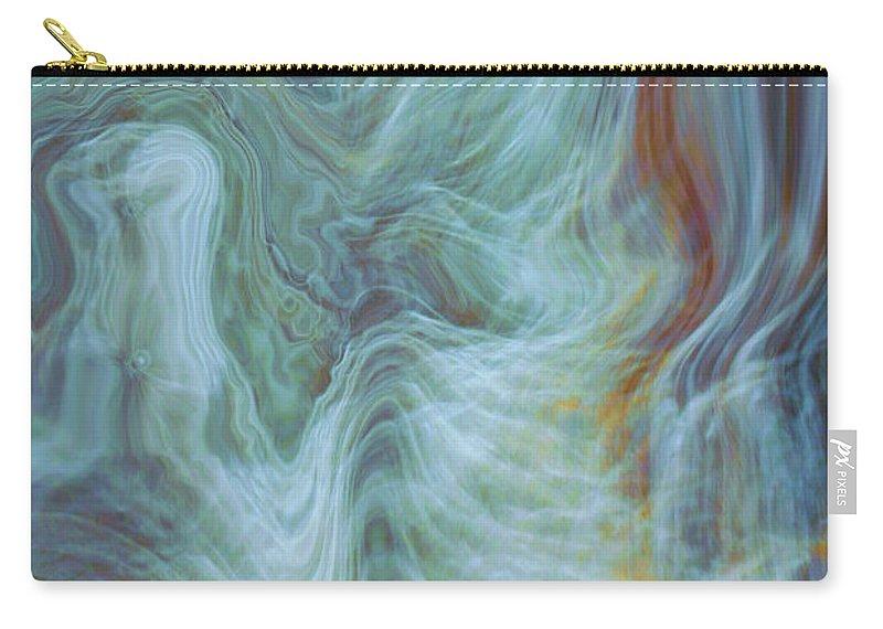 Spiritual Art Carry-all Pouch featuring the digital art Waterfall Angel by Linda Sannuti