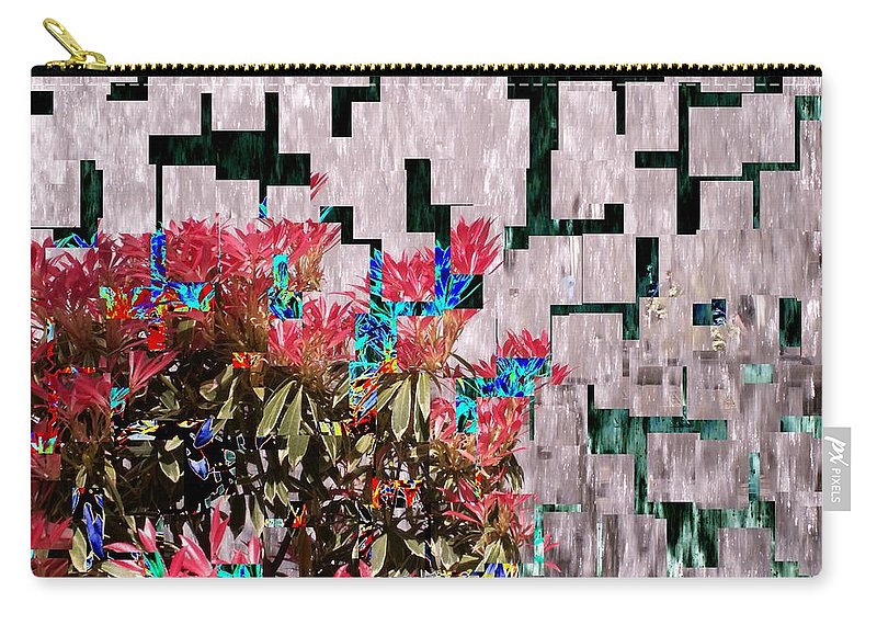 Waterfall Carry-all Pouch featuring the photograph Waterfall Flowers 2 by Tim Allen