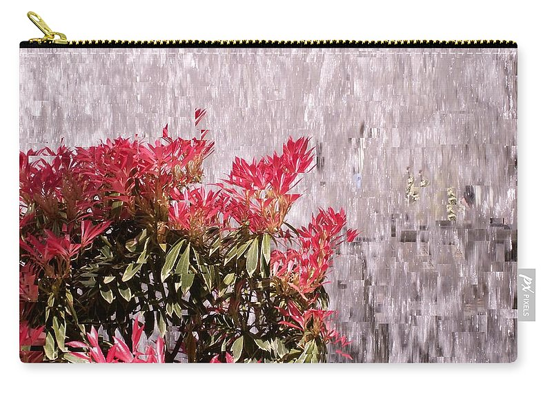 Waterfall Carry-all Pouch featuring the photograph Waterfall Flowers by Tim Allen