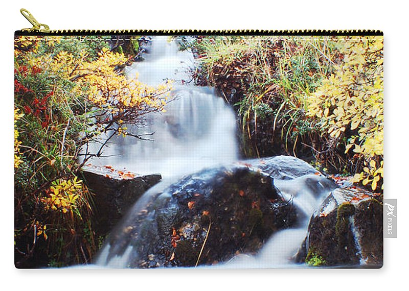 Carry-all Pouch featuring the photograph Waterfall In Autumn by Mircea Costina Photography