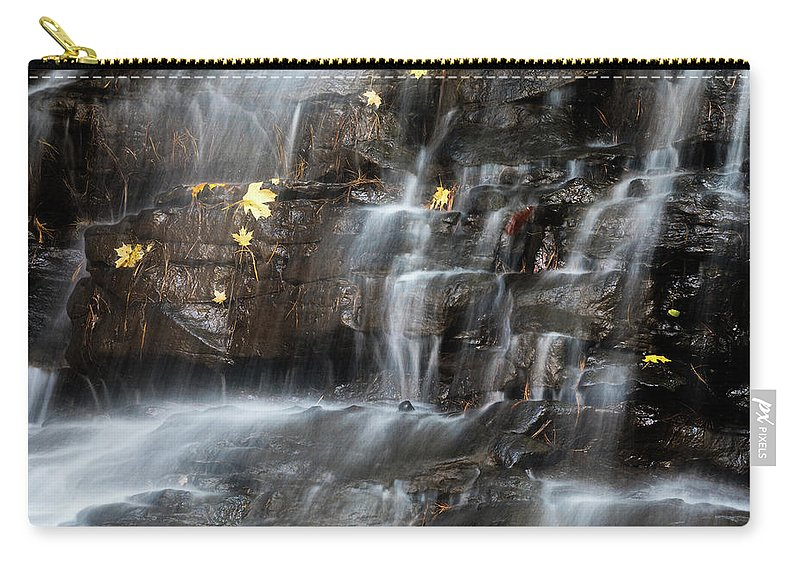 Honey Run Carry-all Pouch featuring the photograph Waterfall In Autumn Sunlight by Tom Mc Nemar