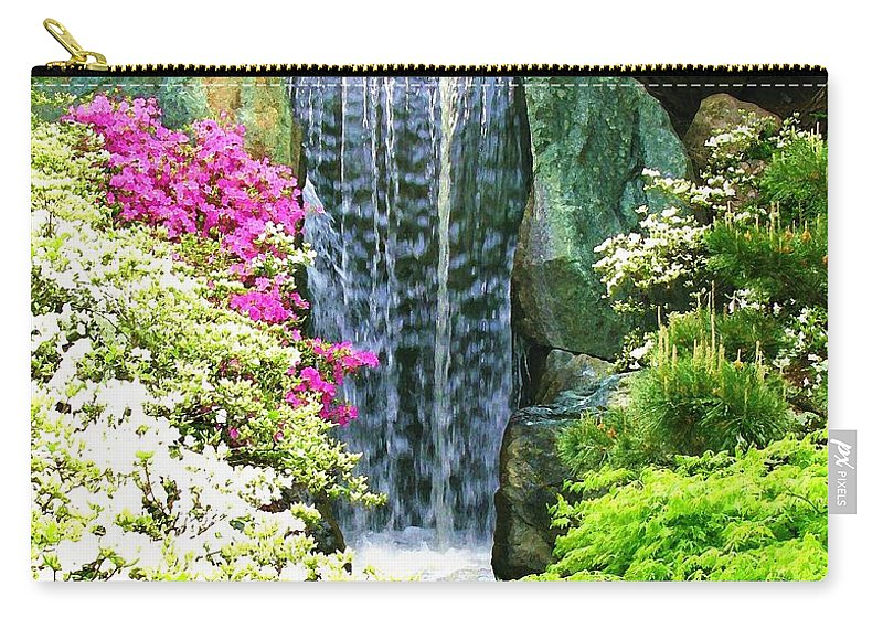 Waterfall Print On Canvas Carry-all Pouch featuring the painting Waterfall In Spring by Susanna Katherine
