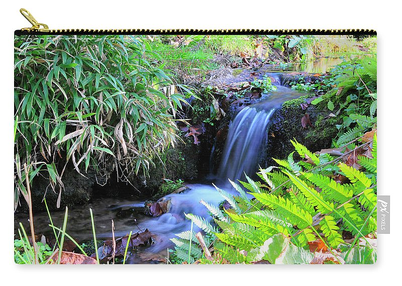 Water. Waterfall Carry-all Pouch featuring the photograph Waterfall In The Fern Garden by David Arment