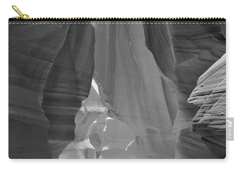 Waterfall Of Light Carry-all Pouch featuring the photograph Waterfall Of Light - Black And White by Adam Jewell