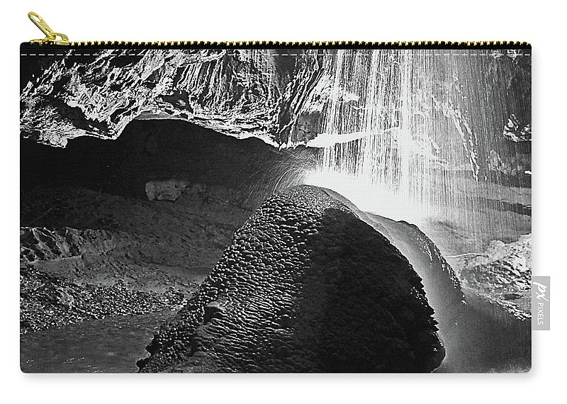 Caves Carry-all Pouch featuring the photograph Waterfall Of The Caverns Black And White by DigiArt Diaries by Vicky B Fuller