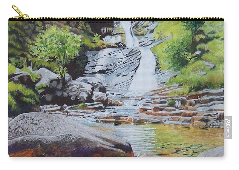 Waterfall Carry-all Pouch featuring the mixed media Waterfall on Skye 2 by Constance Drescher