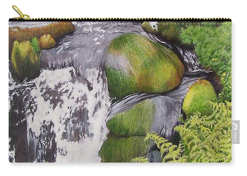 Waterfall Carry-all Pouch featuring the mixed media Waterfall On Skye by Constance Drescher