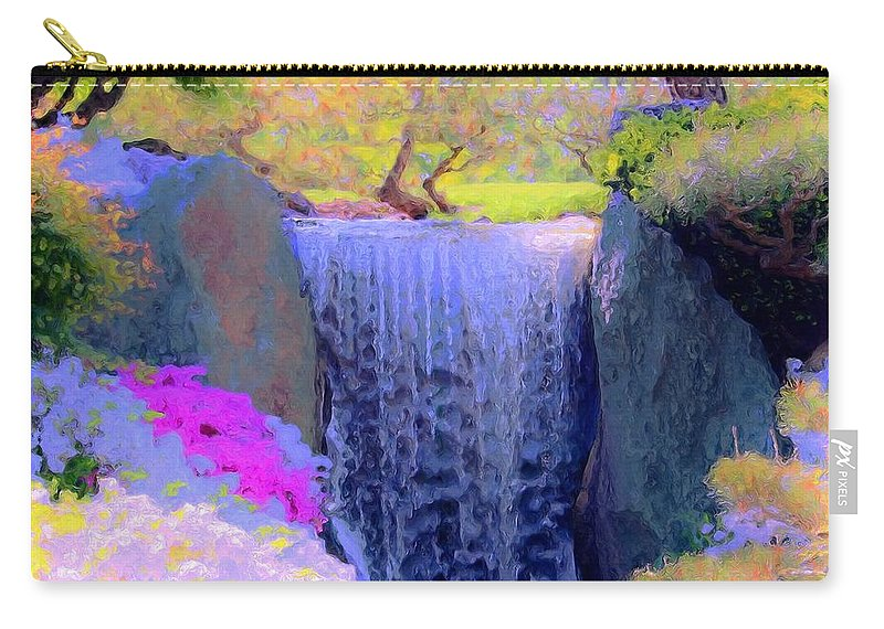 Tree Carry-all Pouch featuring the painting Waterfall Spring Colors by Susanna Katherine