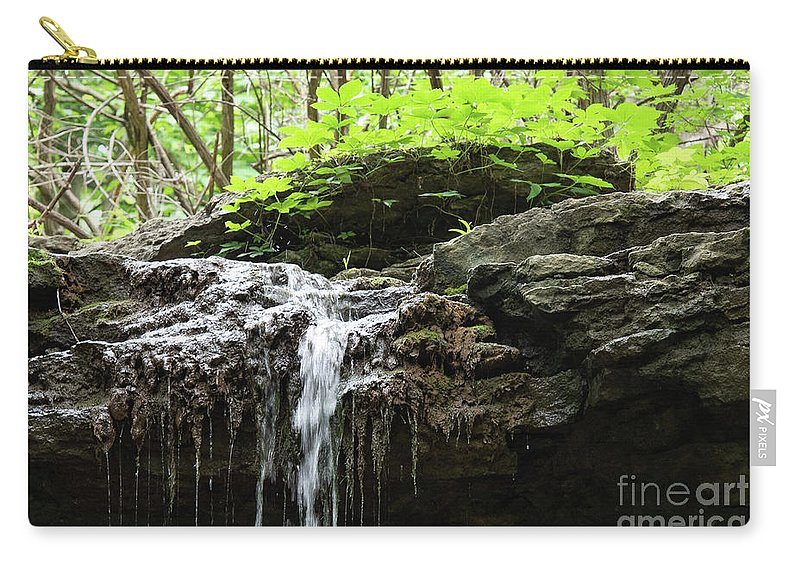 Waterfall Carry-all Pouch featuring the photograph Waterfall Topper by Wesley Farnsworth