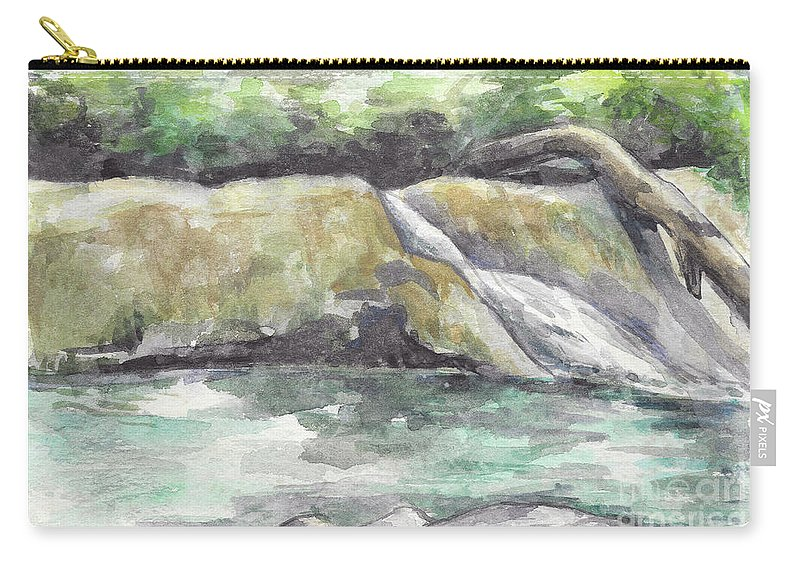 Waterfall Carry-all Pouch featuring the painting Waterfall by Yana Sadykova