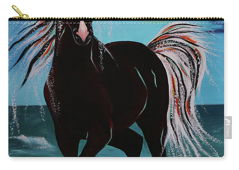 Horse Carry-all Pouch featuring the painting Waterhorse by Nicole Paquette