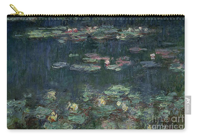 Monet Carry-all Pouch featuring the painting Waterlilies Green Reflections by Claude Monet