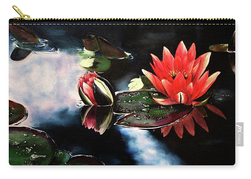 Pink Carry-all Pouch featuring the painting Waterlilly by Carole Robare