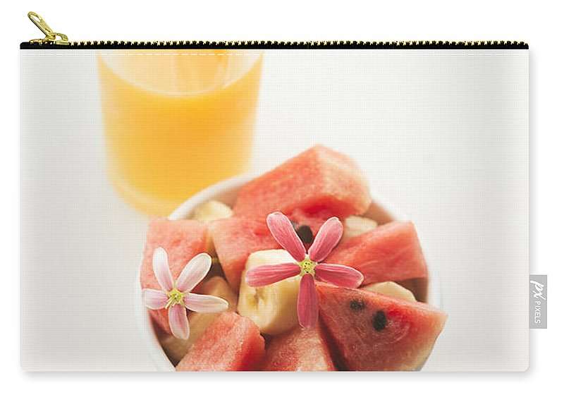 Background Carry-all Pouch featuring the photograph Watermelon And Banana Fruit Salad With Orange Juice by Jacek Malipan