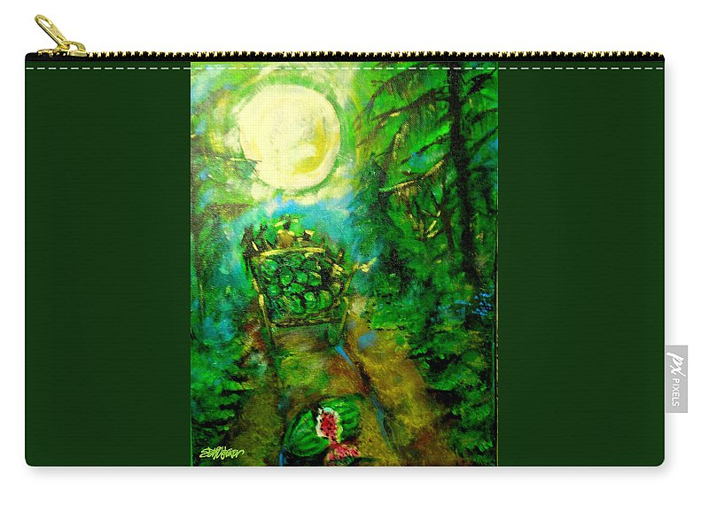 Watermelon Wagon Moon Carry-all Pouch featuring the painting Watermelon Wagon Moon by Seth Weaver