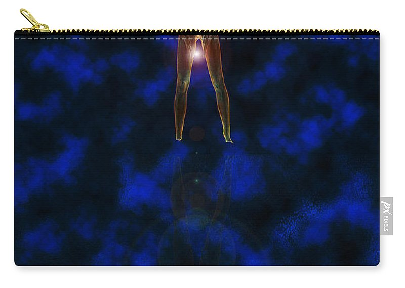 Woman Orb Star Water Reflection Glow Glowing Nude Lady Ladies Mysterious Carry-all Pouch featuring the digital art Waters Edge by Andrea Lawrence