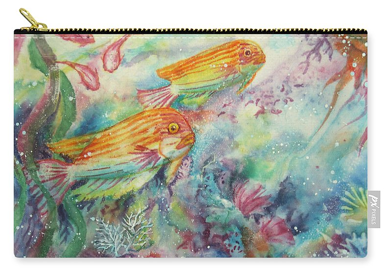 Fish Carry-all Pouch featuring the painting Watery World 1 by Deborah Younglao