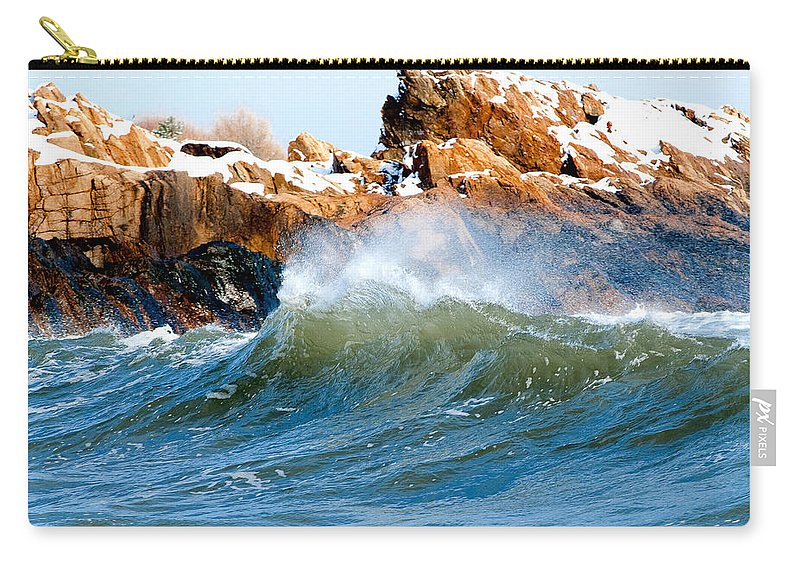 Gloucester Carry-all Pouch featuring the photograph Wave Mirrors Rock by Greg Fortier