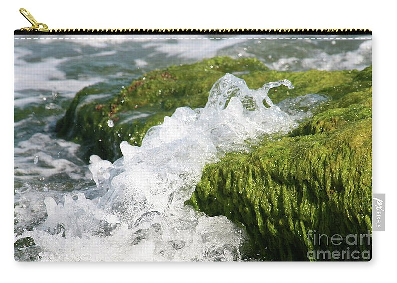 Green Carry-all Pouch featuring the photograph Wave Splash On The Green Rock by Idan Badishi
