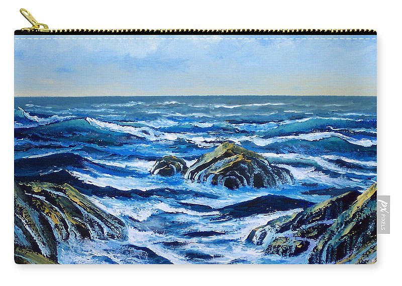 Ocean Carry-all Pouch featuring the painting Waves And Foam by Frank Wilson