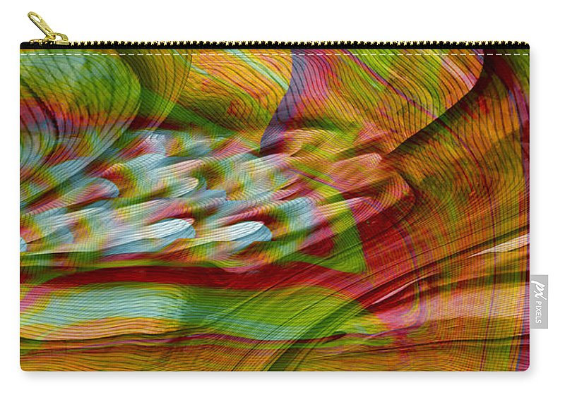 Abstracts Carry-all Pouch featuring the digital art Waves And Patterns by Linda Sannuti