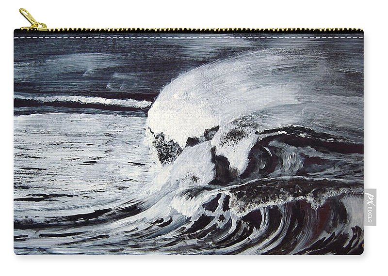 Waves Carry-all Pouch featuring the painting Waves At Night by Richard Le Page