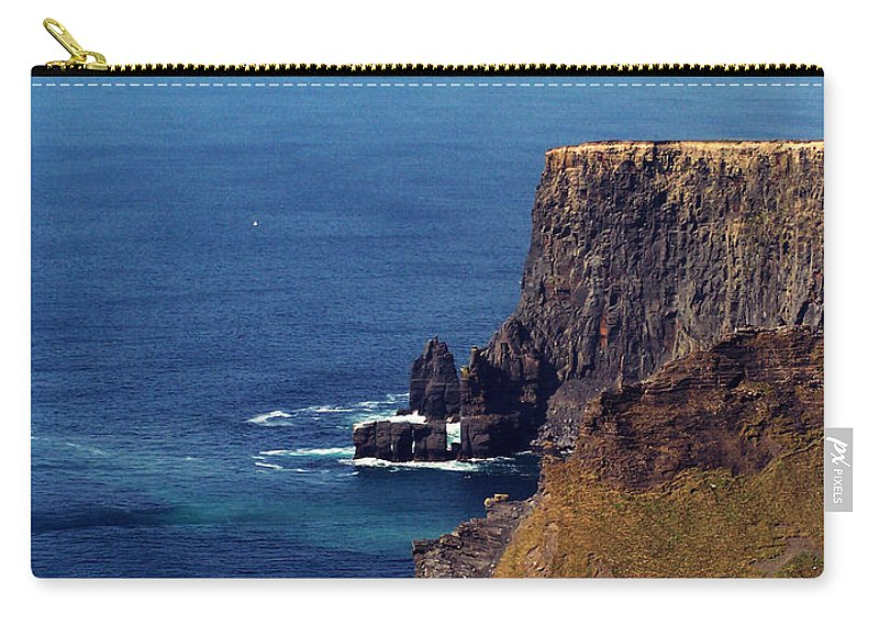 Irish Carry-all Pouch featuring the photograph Waves Crashing At Cliffs Of Moher Ireland by Teresa Mucha