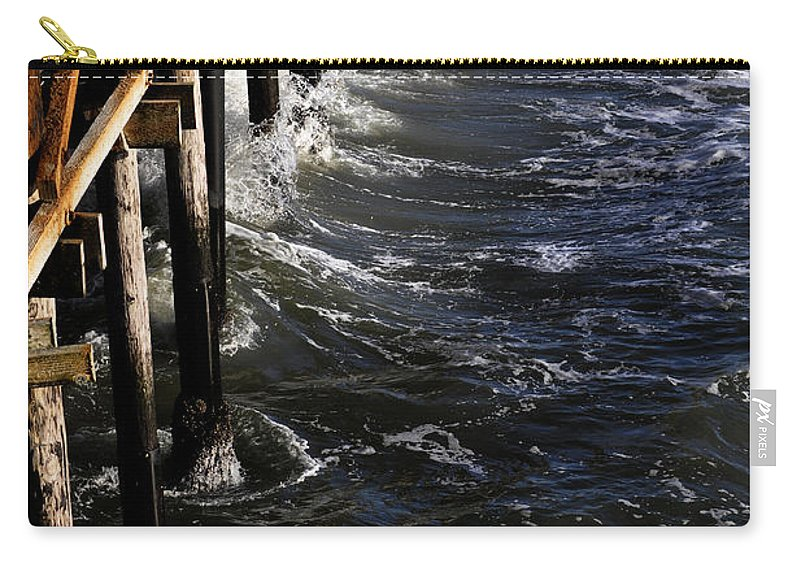 Clay Carry-all Pouch featuring the photograph Waves Hitting Santa Monica Pier by Clayton Bruster
