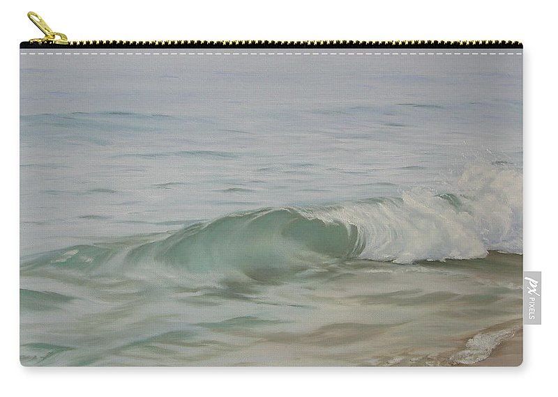 Seascape Carry-all Pouch featuring the painting Waves Out Of The Fog by Lea Novak