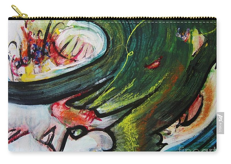Abstract Paintings Paintings Abstract Art Paintings Carry-all Pouch featuring the painting Waves by Seon-Jeong Kim