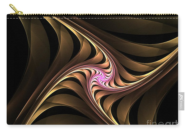 Fractal Carry-all Pouch featuring the digital art Waves With Pink by Deborah Benoit