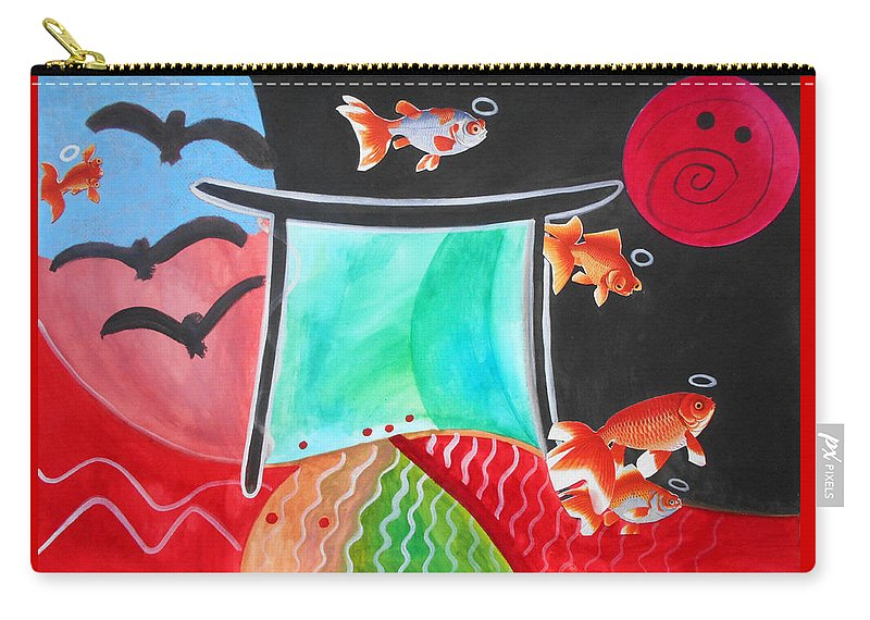 Whimsical Childhood Fish Halos Saints Gateway Expressionist Watercolor Painting Paintings Collage Collages Shinto Shrine Temple Japanese Asian Oriental Pop Photography Carry-all Pouch featuring the painting Way Of The Fish Saints by Laura Joan Levine