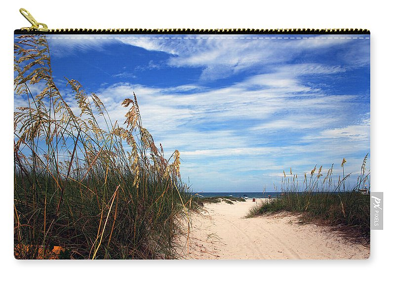 Beach Carry-all Pouch featuring the photograph Way Out To The Beach by Susanne Van Hulst