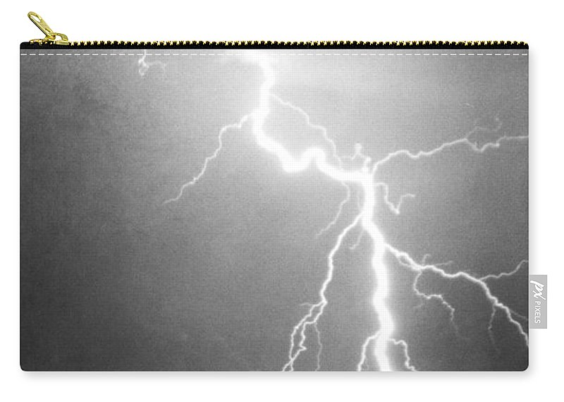 Lightning Carry-all Pouch featuring the photograph Way Too Close For Comfort Bw Print by James BO Insogna