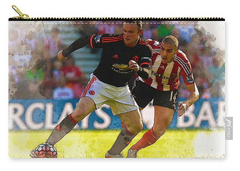 Uefa Chamipons League Carry-all Pouch featuring the digital art Wayne Rooney Is Marshalled by Don Kuing