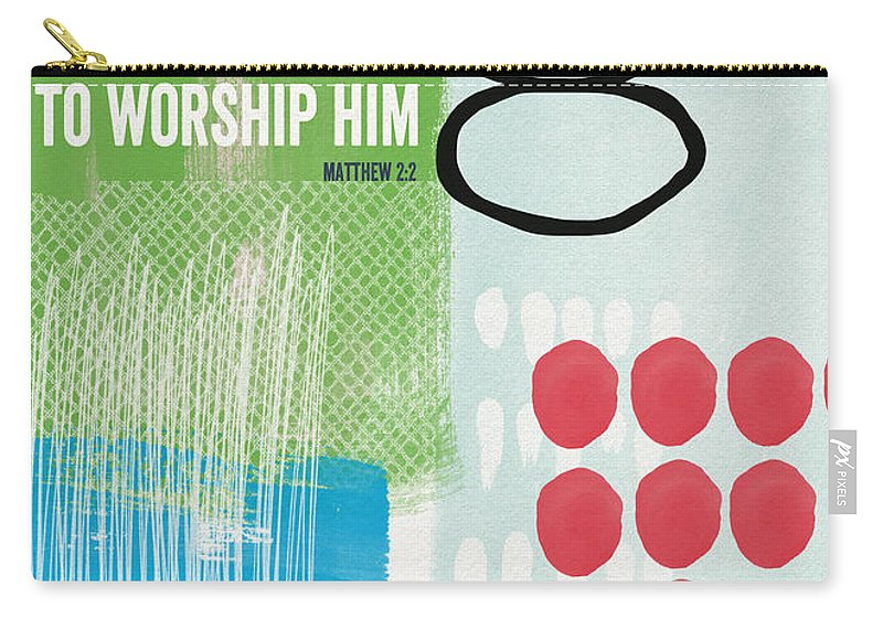 Matthew 2:2 Carry-all Pouch featuring the painting We Come To Worship- Contemporary Christmas Card By Linda Woods by Linda Woods