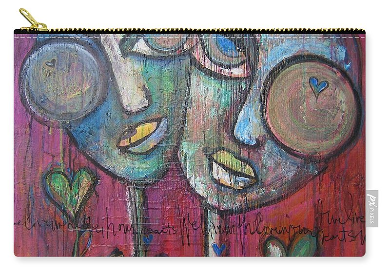 Red Carry-all Pouch featuring the painting We Live With Love In Our Hearts by Laurie Maves ART