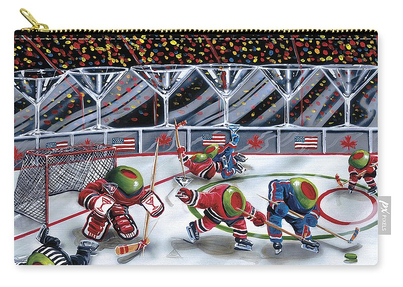 Toothpicks Carry-all Pouch featuring the painting We Olive Hockey by Michael Godard