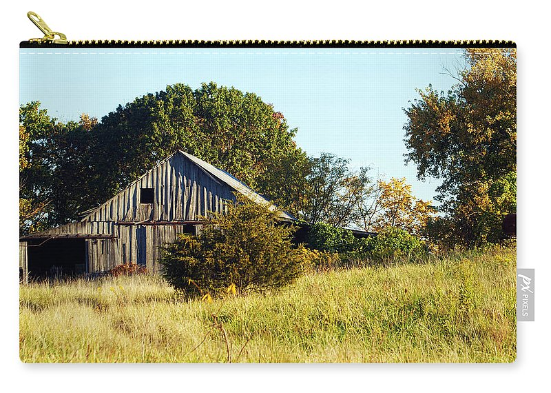 Barn Carry-all Pouch featuring the photograph Weathered Barn In Fall by Cricket Hackmann