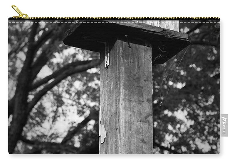 Birdhouse Carry-all Pouch featuring the photograph Weathered Bird House by Teresa Mucha
