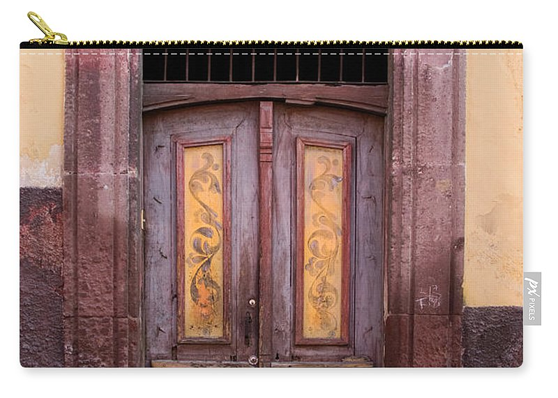 San Miguel De Allende Carry-all Pouch featuring the photograph Weathered Door by Carol Leigh