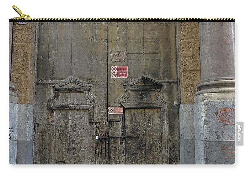 Palermo Carry-all Pouch featuring the photograph Weathered Old Door On A Building In Palermo Sicily by Richard Rosenshein