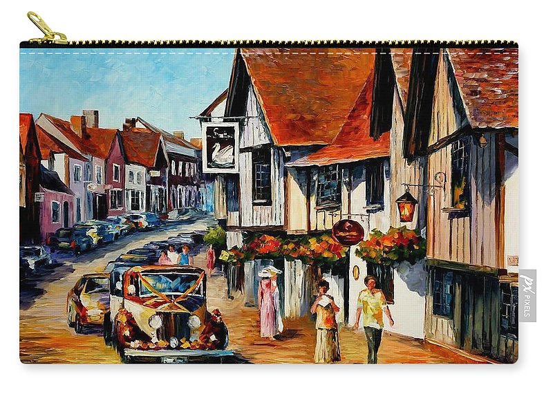 Art Gallery Carry-all Pouch featuring the painting Wedding Day In Lavenham-suffolk-england - Palette Knife Oil Painting On Canvas By Leonid Afremov by Leonid Afremov