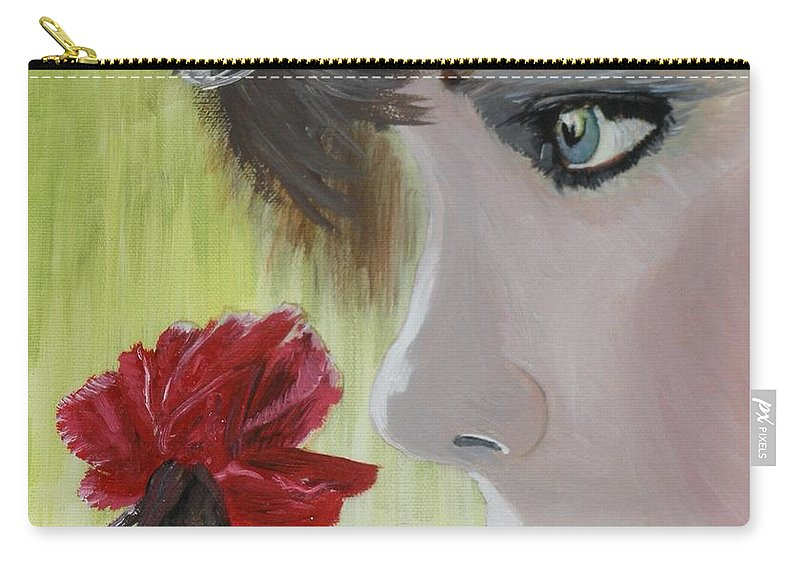 Romance Carry-all Pouch featuring the painting Wedding Rose by J Bauer