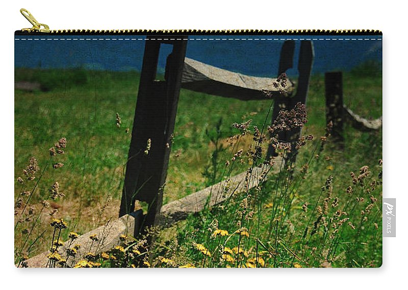 Fence Carry-all Pouch featuring the photograph Weeds by Lois Bryan