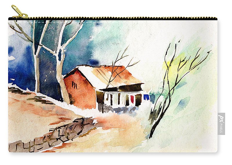 Nature Carry-all Pouch featuring the painting Weekend House by Anil Nene