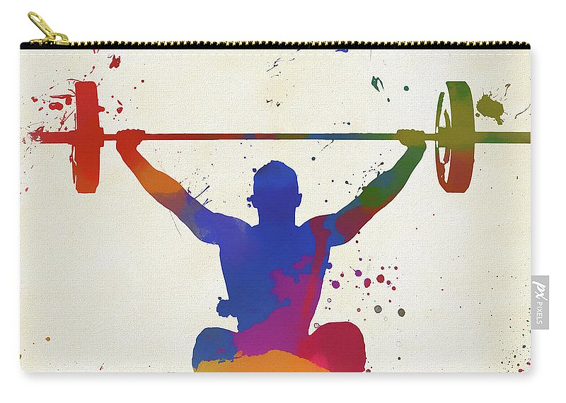 Weightlifter Paint Splatter Carry-all Pouch featuring the painting Weightlifter Paint Splatter by Dan Sproul